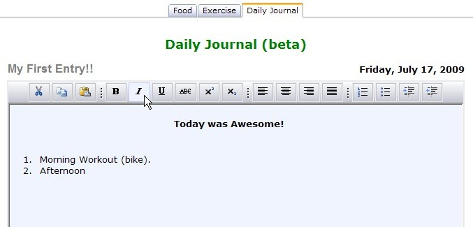 Access your Daily Journal through the Main Calorie Counter.